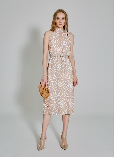 People By Fabrika Bağlama Detaylı Elbise Bej